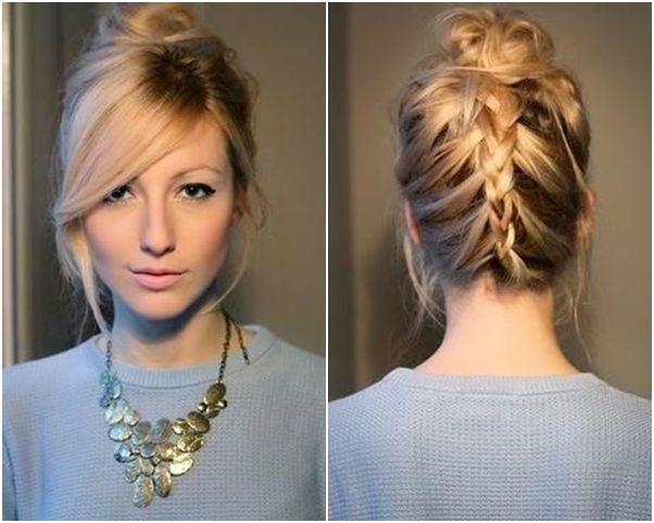 Penteados simples para cabelos curtos - Trança invertida