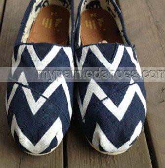 Blue Chevron Chevron Shoes New Style Chevron Shoes Slip-on Paint,Slip-on Painted Canvas Shoes