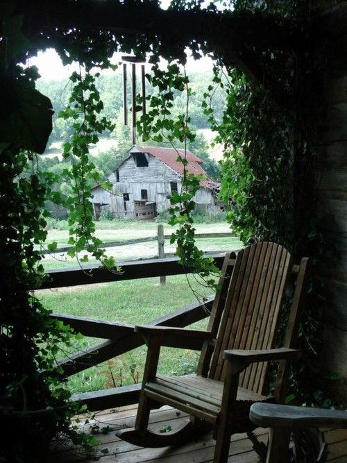 the old barnRocks Chairs, Cups Of Coffe, The View, Country Living, Sweets Teas, Quiet Places, Country Life, Front Porches, Old Barns