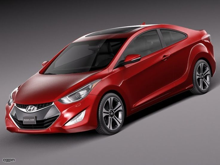 Hyundai Elantra Coupe 2014 royalty-free 3d model - Preview no. 1