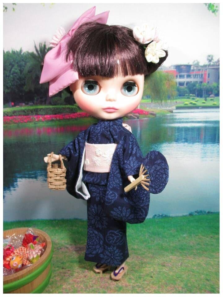 *ブライス 着物 浴衣セット 紺 手刺繍入帯 ATSUOROSE* - ヤフオク!