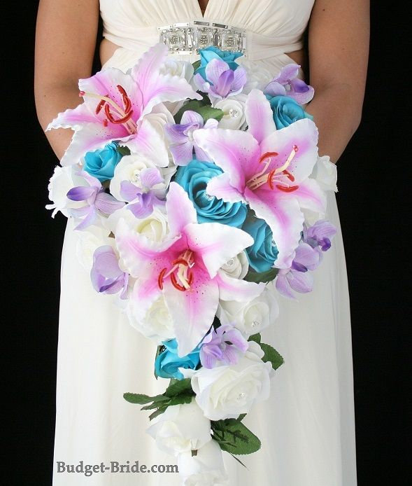 Pink Lily Cascading Bouquet with turquoise and white roses and lilac orchids.  Complete Wedding Flowers Packages starting at $100