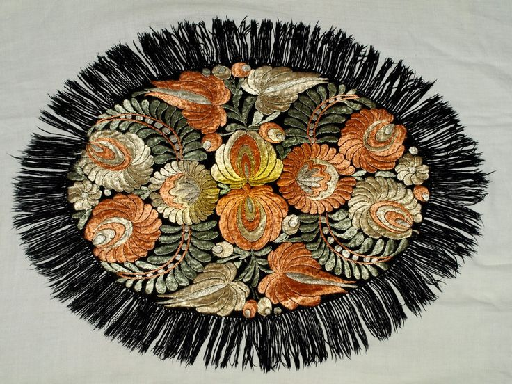 Traditional Vintage Hungarian Silk Matyo Floral Embroidered Oval Tablecloth   | eBay