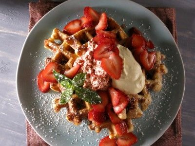 Strawberry Waffles with Strawberry-Black Pepper Butter and Lemon Curd Cream   Bobby Flay