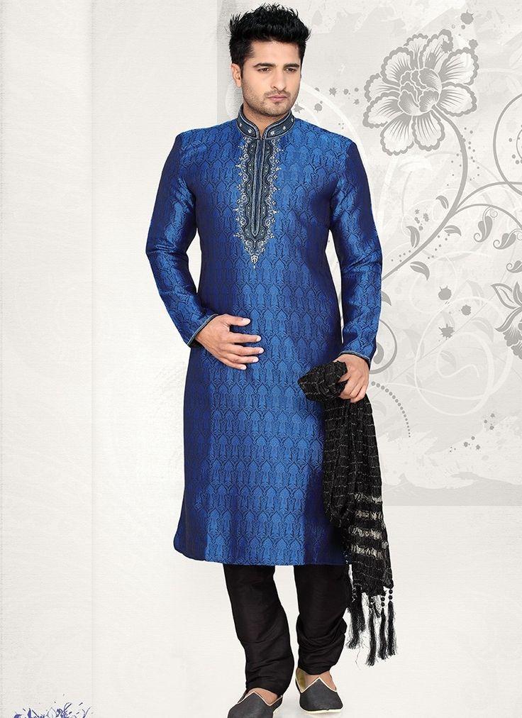 Shop Online Blue Brocade Art Silk #MensSherwani @Chennaistore.com