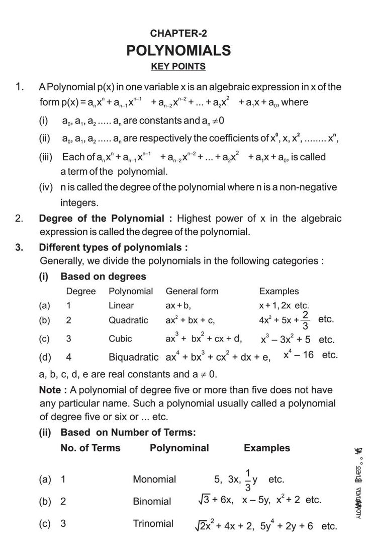 Class 9 Maths Notes for Polynomials in 2020 Math notes