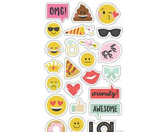 Smiley stickers, Emoji Love, Chipboard Stickers, Simple Stories, Decoration mini albums, Pizza stickers, Poop stickers, Emoticons, Stickers
