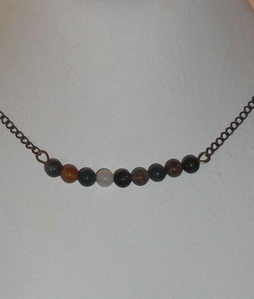 αχατης μπρουτζινη αλυσιδα - agate brass chain