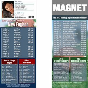 """New England Pro Football Schedule Magnet (3 1/2""""X8 1/2"""")"""