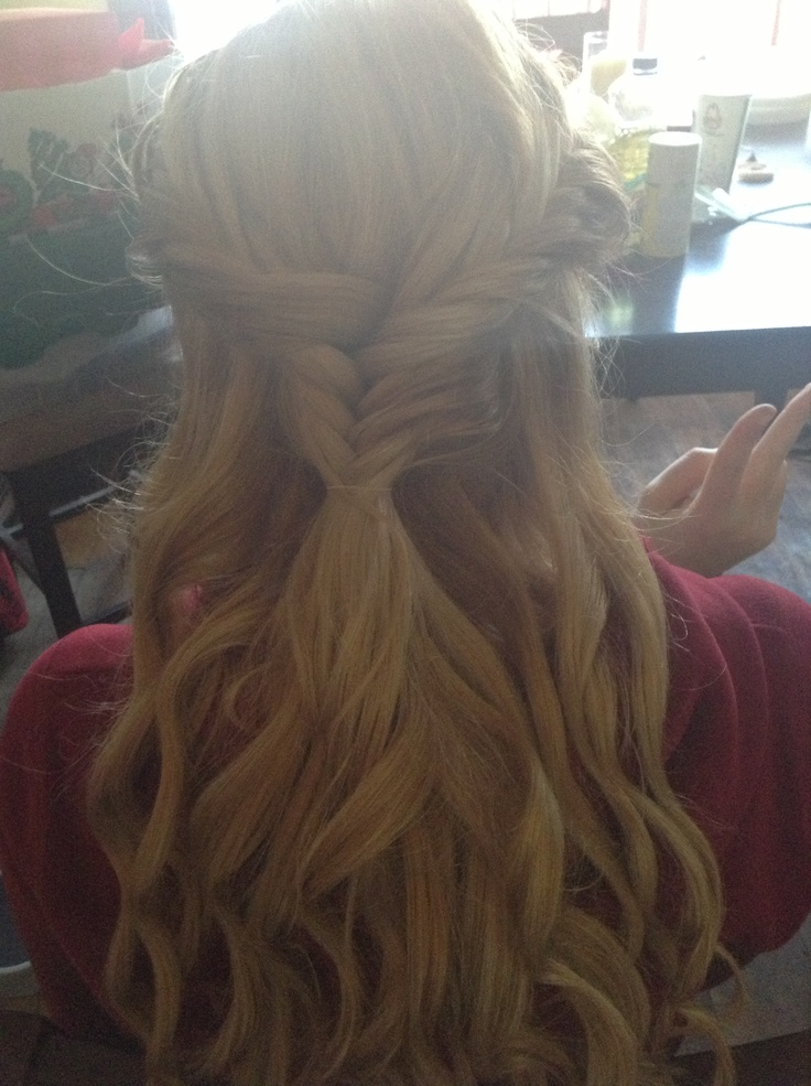 Fishtail braids and curly hair! So cute.