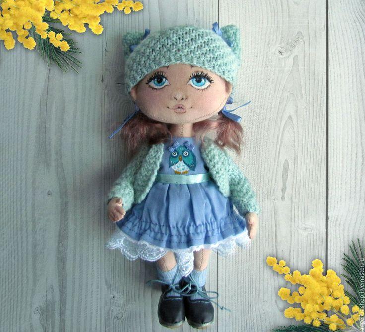 Купить Синеглазка - текстильная кукла - васильковый, текстильная кукла, текстильная игрушка, текстильная кукла купить