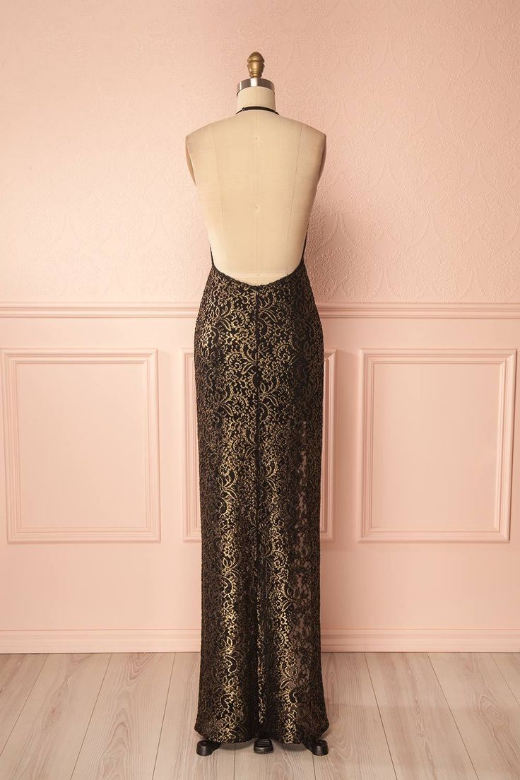 Zoilo Black & Gold Embroidered Wrap Evening Dress | Boutique 1861