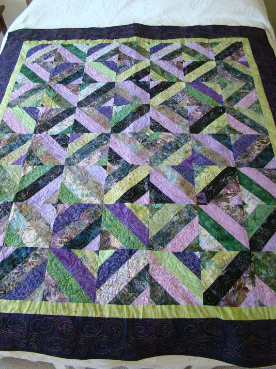 Twin or Double Bed Sized Quilt in Bali Batik Fabrics in