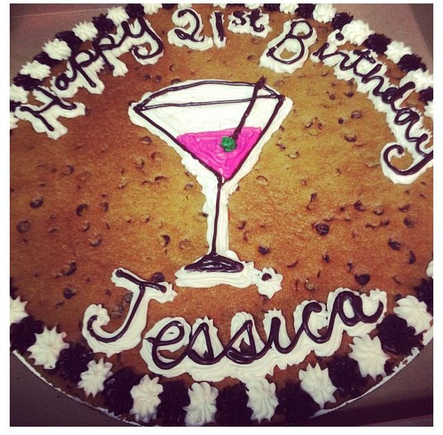 Cookie Cake Designs For Birthday : Cute 21st birthday cookie cake with a martini glass. Could ...