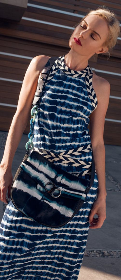 Who made Kate Bosworth's blue stripe dress and white tie dye handbag? | OutfitID