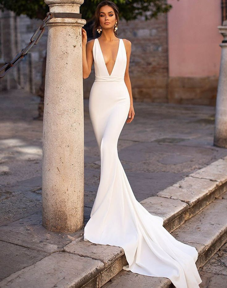 Wedding ceremony Clothes Smileven Mermaid Wedding ceremony Costume Spandex Sleeveless Attractive Deep
