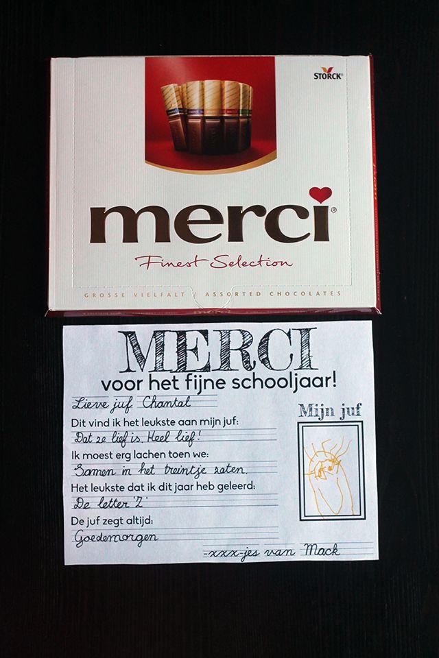 Een doosje Merci is wat mij betreft het ideale einde schooljaar cadeau voor de juf of meester. Met deze gratis printable maak je het persoonlijk en een leuk aandenken.