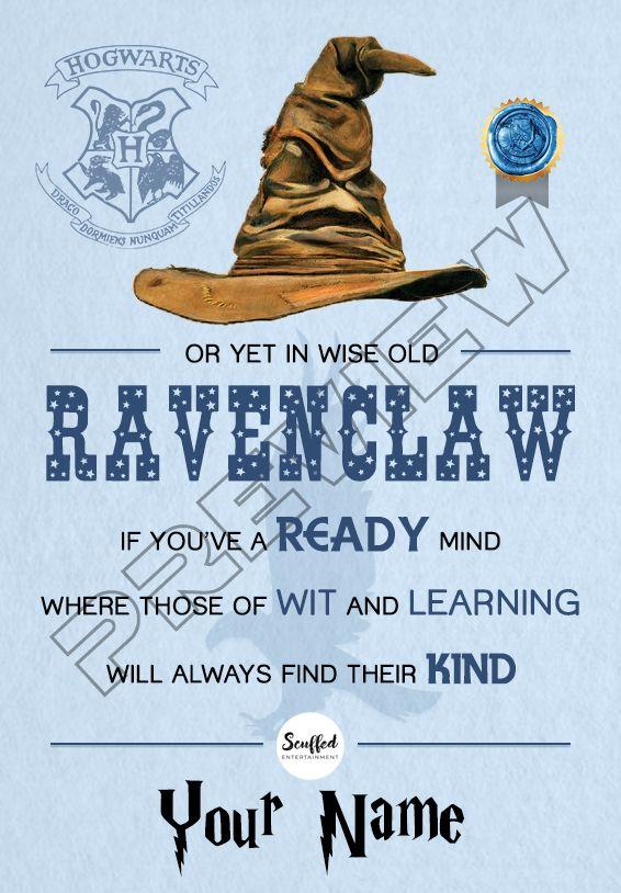 Harry Potter Ravenclaw Certificate Hogwarts Sorting Hat Stamp Seal Harry Potter Ravenclaw