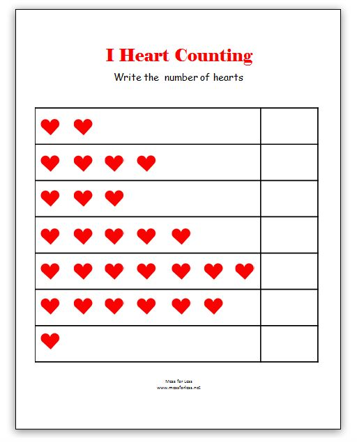 Valentine's Math - Kindergarten Worksheets