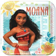 Moana Square Paper Plates, 9'' | 8 ct