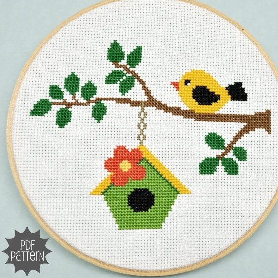 Bird on a Branch Cross Stitch Pattern