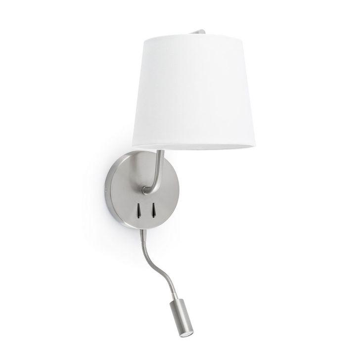 Applique Moderne Et Decorative En Métal Finition Nickel Mat Avec Abat Jour  En Tissu Blanc Avec