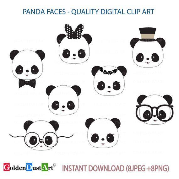 Cute Panda Faces Clip Art Panda Clip Art Panda Faces Kawaii Etsy In 2021 Kawaii Panda Cute Panda Clip Art