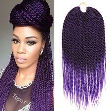 "18"" Crochet Braids Kanekalon Braiding Hair Ombre Purple Senegalese Twist Hair"