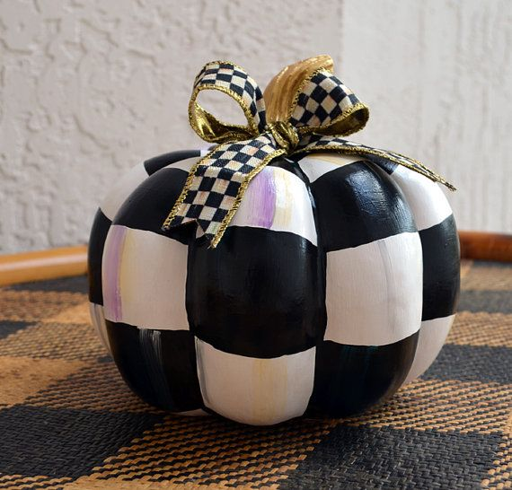 Pumpkin Black and White checks with Mackenzie Childs by irinashop, $55.00