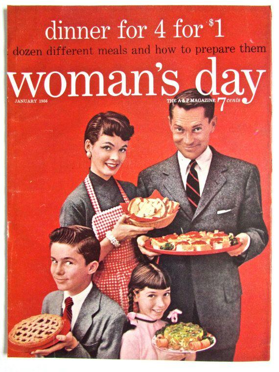 1950s magazine cover retro family womans day midcentury