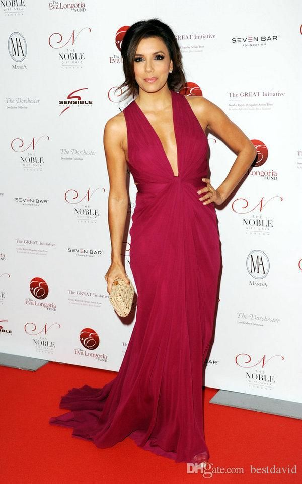 Eva Longoria Cranberry Evening Celebrity Dresses For Women Deep V Neck Cut Out Ruched Chiffon Sheath Floor Length Gown Red Gowns Teenage Dresses From Bestdavid, $110.56  Dhgate.Com
