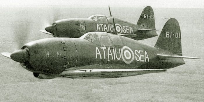 """The Mitsubishi J2M5 Raiden (Japanese for """"Thunderbolt"""") was designed by Jiro Horikoshi, creator of the A6M Zero. Japanese aircraft taken over by the Allies in British Malaya were tested and evaluated by Japanese naval aviators under close supervision of RAF officers from Seletar Airfield. Here two Mitsubishi J2M Raiden fighters (known to the Allies as """"Jack""""), belonging to the 381 Kōkūtai of Imperial Japanese Navy Air Service, are flying in close formation during their evaluation flight"""
