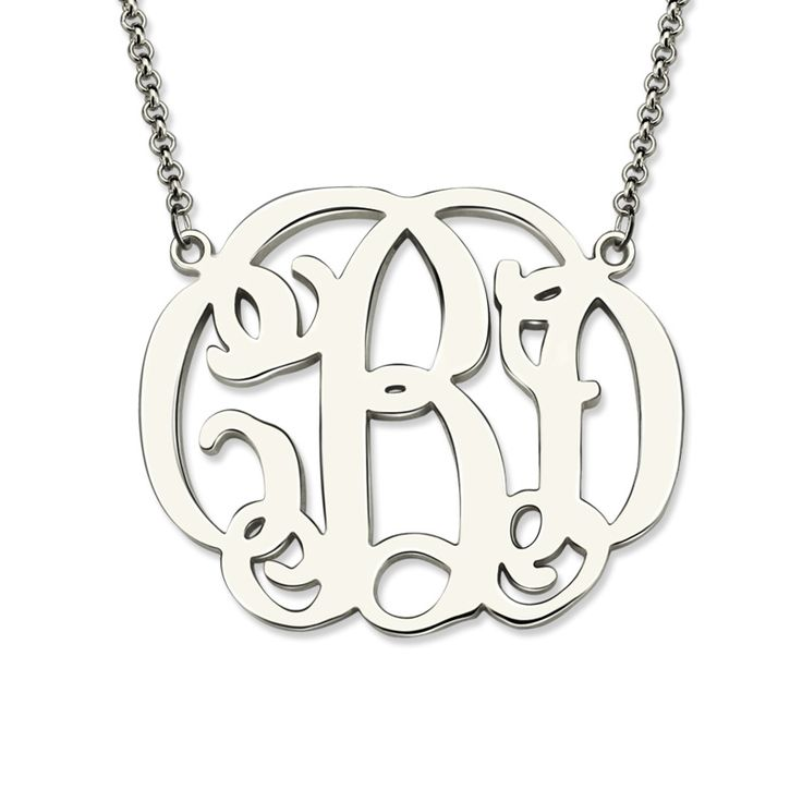 Celebrity Monogram Necklace Silver Monogram Initial Necklace Custom Name Jewelry Mother's Day Gift #Affiliate