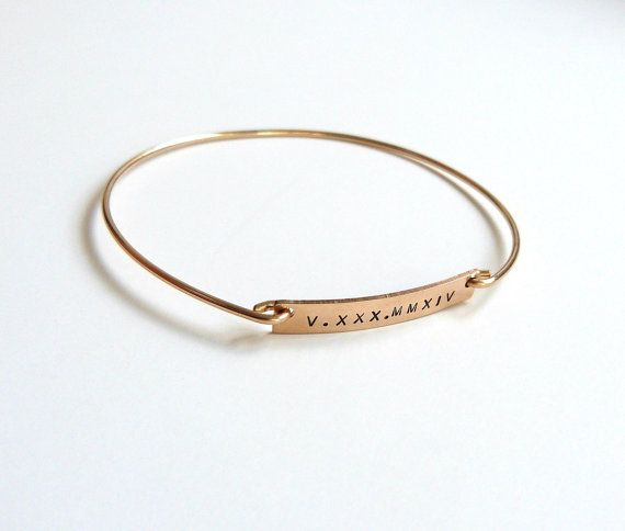 Custom Gold Bangle/Monogram / Name Bracelet/ Bridesmaid Gift/ Anniversary Gift/ Bar Bracelet/ Roman Numeral Bracelet/ Personalized Bracelet