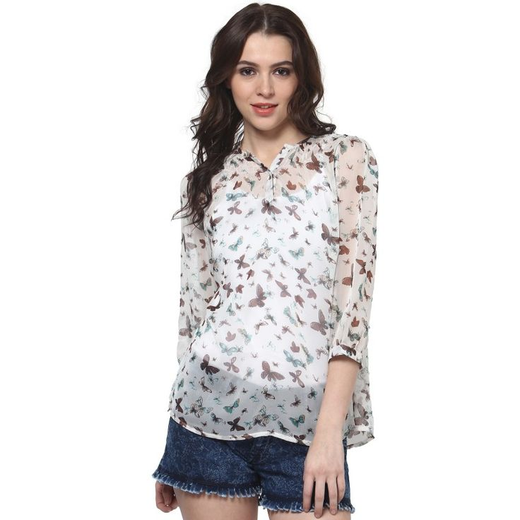 White Butterfly Smock Top  #onlineshopping http://goo.gl/D6a8mE