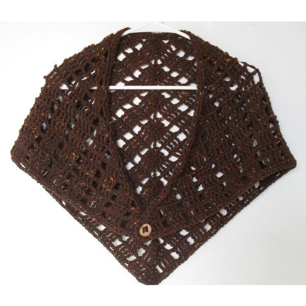 Crochet Shawl Wrap Chesnut Brown Wool light-weight accessorize your... (€23) ❤ liked on Polyvore featuring accessories, scarves, crochet shawl, brown scarves, woolen shawl, wrap shawl and light weight scarves