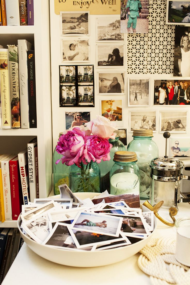 Rita Konig at home in Manhattan « the selby. Love the idea of a bowl of photos.