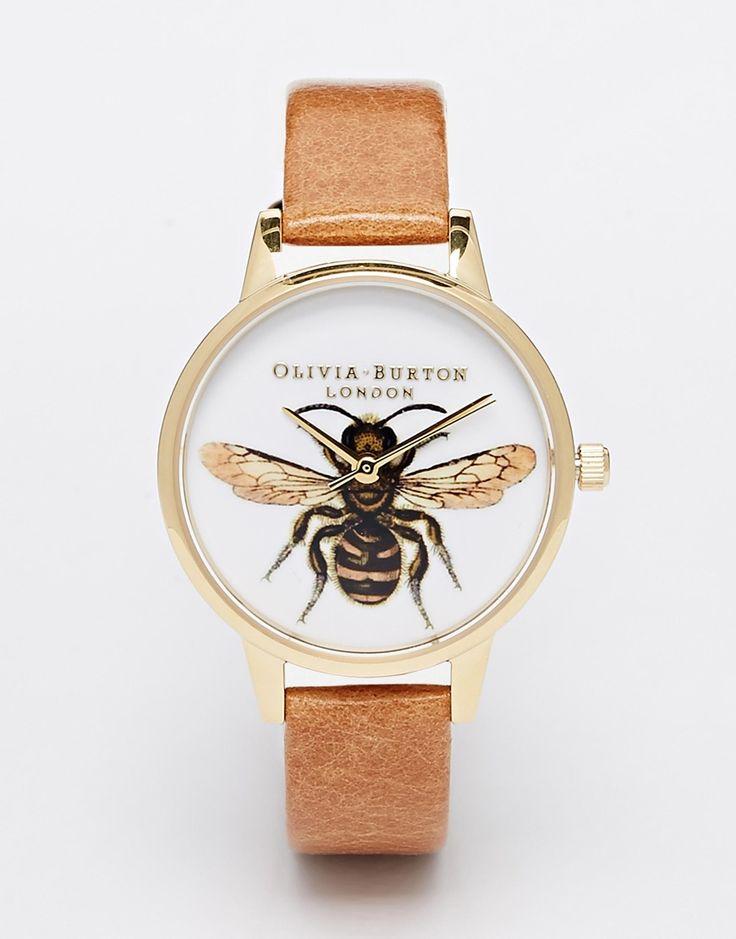 Image 1 ofOlivia Burton Bee Tan Leather Strap Midi Dial Watch
