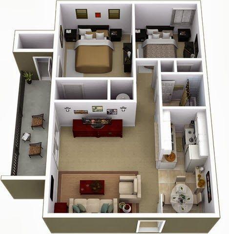Departamentos peque os planos y dise o en 3d for Diseno de apartamento de una habitacion
