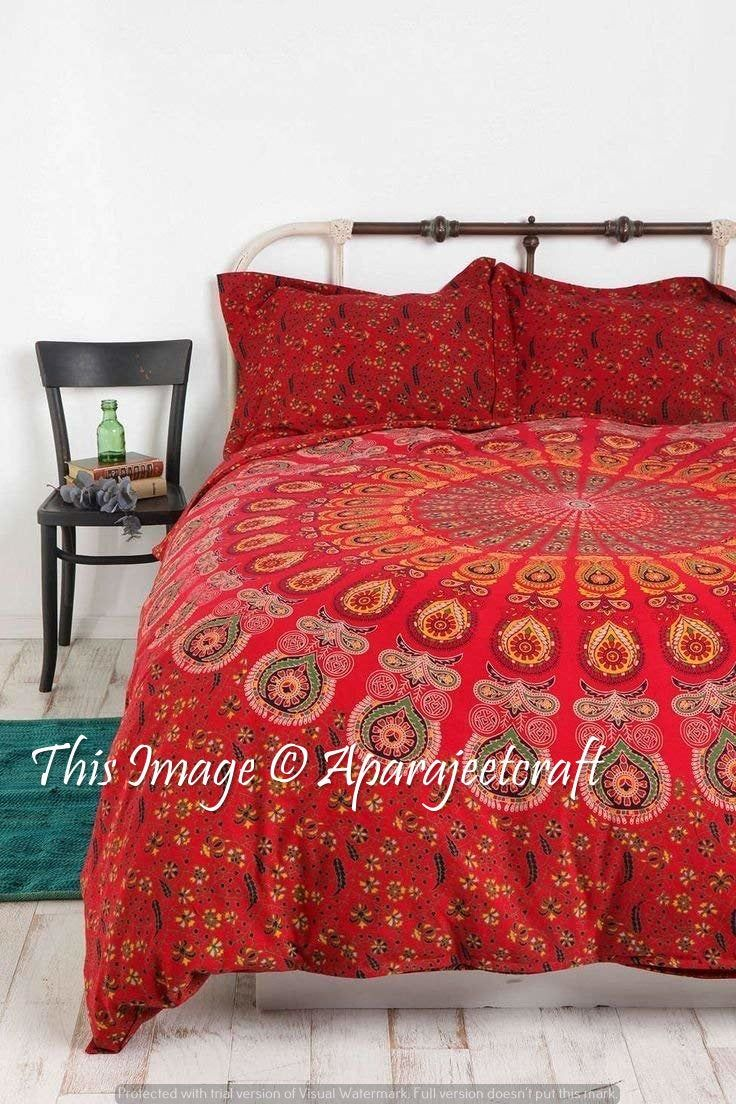 Indian Handmade Cotton Twin Size Mandala Bedcover Ethnic Bedding Bedspred Decor