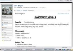 This snapshot documents the use of the video function on mobile phones and a Learning Management System- Ultranet : U Space. The context is developing students ability to set, share and evaluate goals. The selected learning context is 'swimming'.