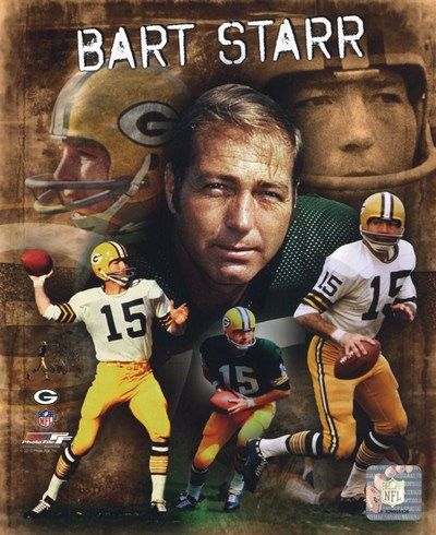 "Bryan Bartlett ""Bart"" Starr born January 9, 1934 is a former pro American football player and coach. He wore #15 and he was the QB for the Green Bay Packers from 1956 to 1971,  he led the Packers to multiple NFL championships. He was less successful as the Packers' head coach,from 1975-1983.Starr was voted to the NFL Pro Bowl 4 times.He was voted NFL. MVP by both AP and UPI in 1966, and was chosen Super Bowl MVP in 1966 and 1967. He was inducted into the NFL Hall of Fame in 1977."