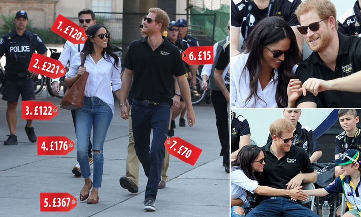"Hand in hand, Prince Harry proudly brought his gf Meghan Markle to a highly public tennis match today - their 1st official appearance together as a couple & the ""Suits"" star, 36, made an intriguing outfit choice, sporting a a £221 (retailing for $185 in the States) white shirt named 'The Husband,' designed by her friend Misha Nonoo (whose former spouse went to Eton w/ William & Harry), along w/ sunglasses & ripped blue jeans."