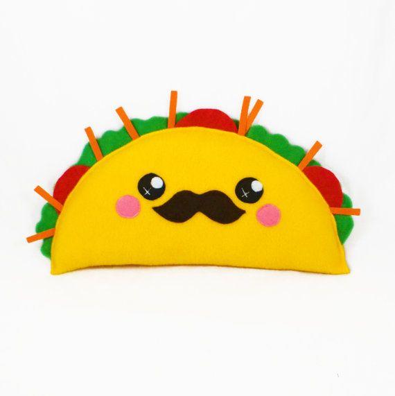 Cojín de humor de taco kawaii peluche peluche novedad por Plusheez