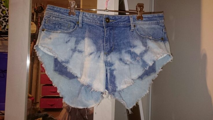 Shorts diy. Bleached bottom cut offs from old jeans. Distressed with chreese grater