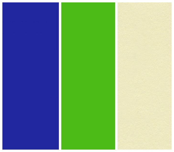 My colors :) Royal blue, kelly green, with a cream/yellow accent