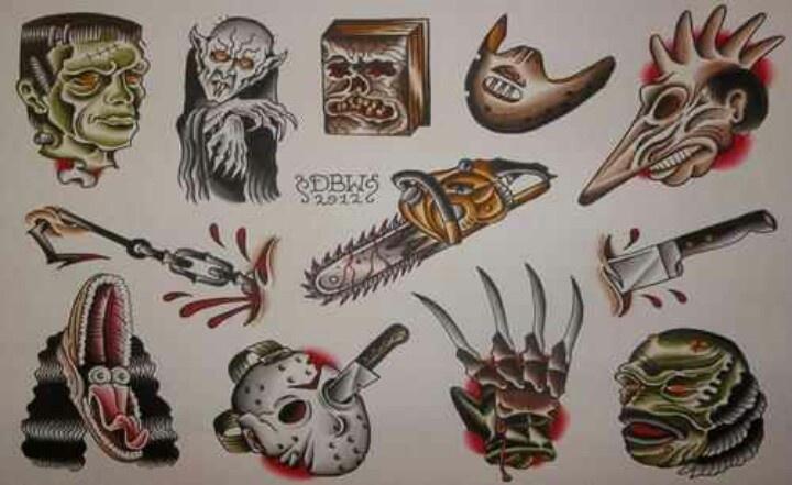 Horror Movie Tattoo Flash Horror tattoo i...