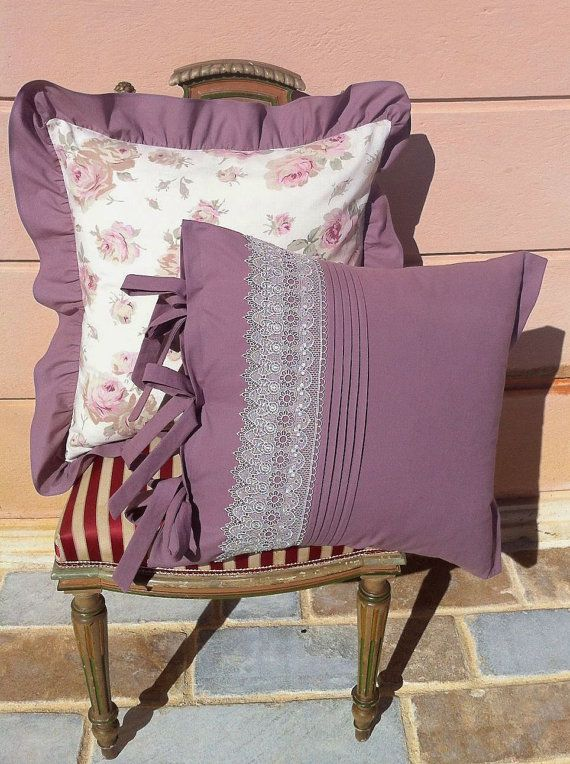 Handmade pillow case made with cotton fabric and vintage lace. Made in France