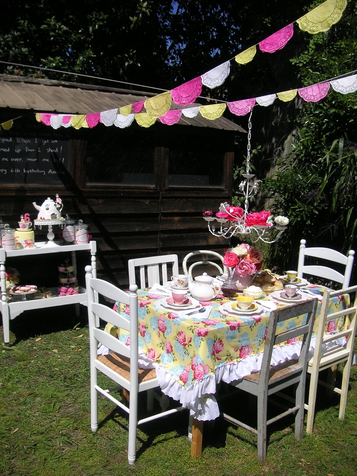 I love the little banners.   Vintage tea party # tea cart, floral, pink, white and yellow, vintage