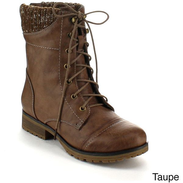 Refresh Women's 'Wynne-06' Ribbed Cuff Mid-Calf Combat Boots ($26) ❤ liked on Polyvore featuring shoes, boots, calf length boots, military zipper boots, knit cuff boots, zipper combat boots and combat booties